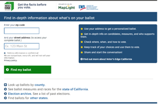 Voters Edge California Screenshot