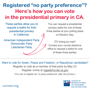 no party preference, primary, California, voting, elections, presidential, voter
